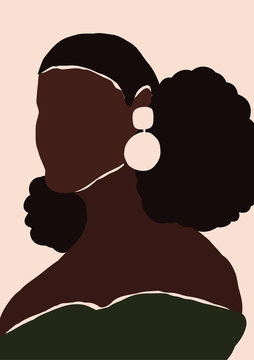 Abstract modern young african american black woman portrait silhouette. Fashion minimal trendy people face in paper cut mosaic flat style. Trendy minimal poster print. Vector hand drawn illustration