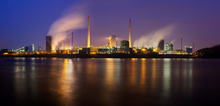 Coking Plant By River At Night Panorama
