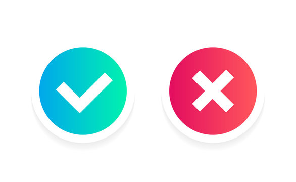 Check mark label. Check mark signs in green and red gradient colors. Yes or no buttons.Vector illustration