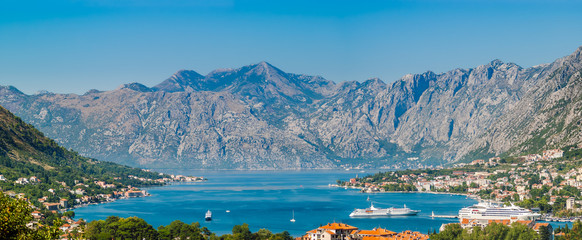 op view of panorama of Kotor Bay, Montenegro on a sunny summer day. Fotomurales