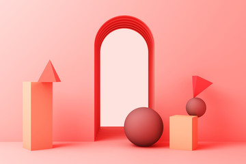 minimal abstract background abstract geometric shape group set pink pastel color 3d rendering