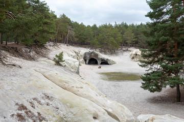 Deutschland, Sachsen-Anhalt, Blankenburg, Blick auf die Sandhöhlen im Heers, einem Waldstück unterhalb der Burg Regenstein.