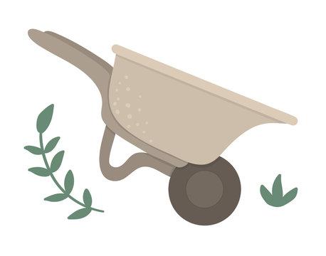 Vector wheel barrow isolated on white background. Flat spring garden tool illustration. Gardening equipment icon..
