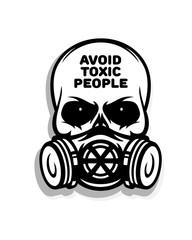 Skull in gas mask vector illustration.