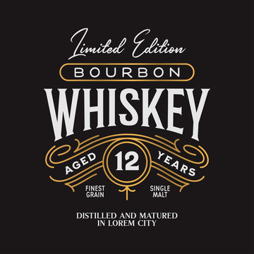 Whiskey Bourbon label logo emblem. Vintage vector illustration.