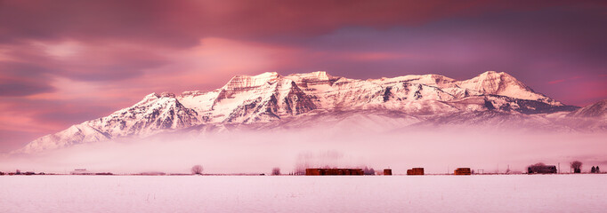 Winter sunrise panorama in rural Utah, USA.