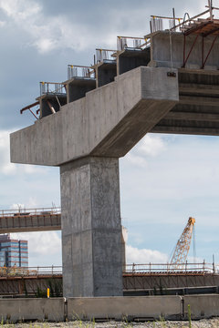 Vertical Shot Of Bridge Overpass Under Construction In Metro Atlanta