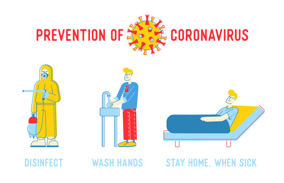 Prevention of Coronavirus Infection Infographics Poster. Disinfect, Wash Hands, Stay Home when Sick Banner, Medical Flyer or Brochure with Advice to People. Cartoon Flat Vector Illustration, Line Art