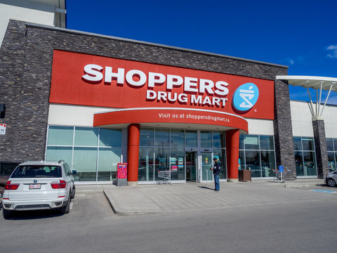 Shoppers Drug Mart outlet on May 29, 2015 in Calgary, Alberta Canada. This Shoppers is in Aspen Landing, an extremely popular shopping area in Calgary's area of Aspen.