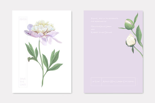 Wedding Invitation Cards with Floral Design Set. White Garden Peony Flowers on Stem with Leaves Decoration. Romantic Frame with Greenery Bouquet, Save the Date Postcard Template Vector Illustration