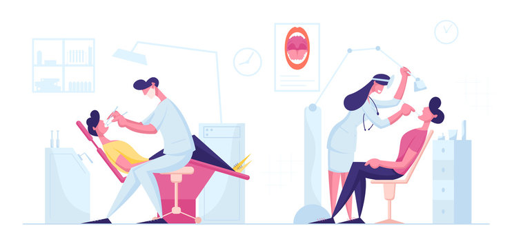 Dentist Check Up or Treatment Procedure. Man Lying in Medical Chair in Stomatologist Cabinet with Equipment. Male and Female Doctors Conducting Teeth Caries Treating Cartoon Flat Vector Illustration