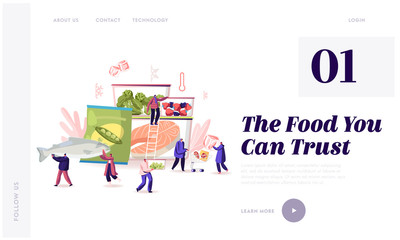 Frozen Food Website Landing Page. Characters Buying and Cooking Natural Iced Products Fresh Vegetable, Fruit Meat and Fish. Healthy Eating Conservation Web Page Banner Cartoon Flat Vector Illustration