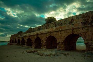 Old Aqueduct in caesarea israel