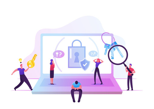 Sad Man Forgot Password Sitting at Huge Laptop with Padlock and Shield on Screen Suffering about Lost Account Pin Code. Happy Person Run with Key. Information Defend Cartoon Flat Vector Illustration