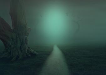 Fantasie Mystisch geheimnisvoller Weg mit Baum im Nebel, Hintergrundbild für eigene Gestaltung, Bühnenbild, Tapete, Halloween,