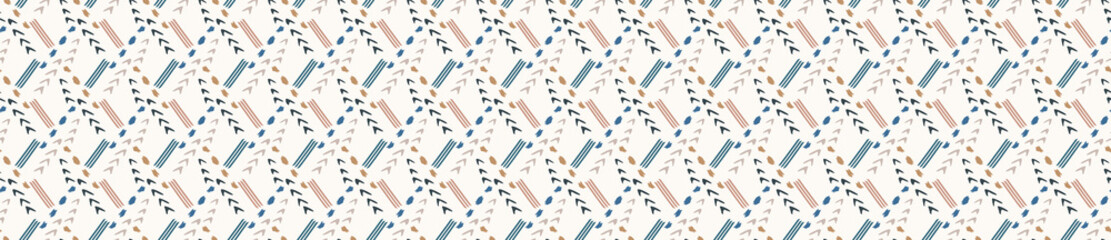 Hand drawn whimsical scribble lines seamless pattern. Vector painterly ribbon trim banner. Doodle marks background. Playful gender neutral abstract geometric sketchy repeat. Ethnic washi tape edge. Fotobehang