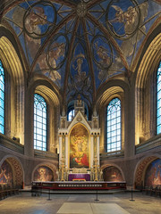 Apse and altar of Turku Cathedral, Finland. The altarpiece was painted in 1836 by Swedish artist Fredrik Westin. The wall frescoes were created by court painter Robert Wilhelm Ekman in 1850-1854.