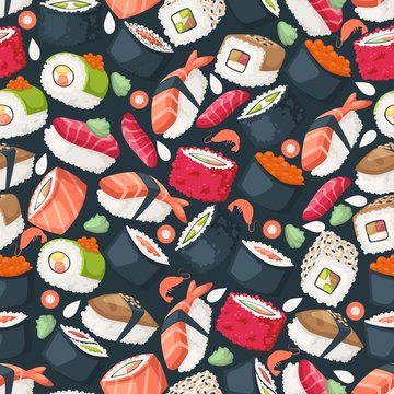 Sushi isolated icons in seamless pattern, vector illustration. Wrapping paper design for Japanese restaurant food delivery packages. Traditional Asian cuisine seafood dish, sushi and rolls menu cover