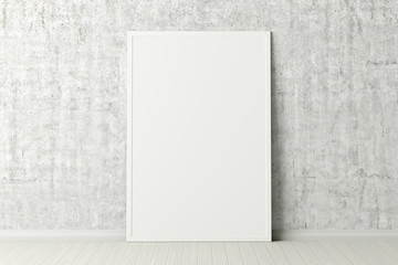 Blank vertical poster frame mock up standing on white floor next to concrete wall. Clipping path around poster. 3d illustration