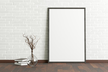 Blank vertical poster frame mock up standing on dark parquet floor next to white brick wall with vase and books. Clipping path around poster. 3d illustration