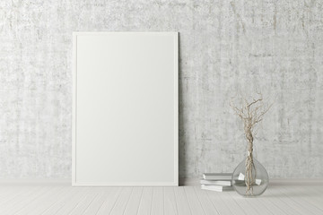 Blank vertical poster frame mock up standing on white floor next to concrete wall with vase and books. Clipping path around poster. 3d illustration