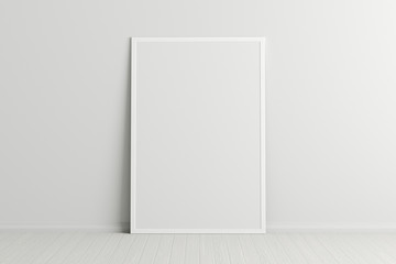 Blank vertical poster frame mock up standing on white floor next to white wall. Clipping path around poster. 3d illustration