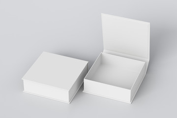 Blank white flat square gift box with open and closed hinged flap lid on white background. Clipping path around box mock up. 3d illustration