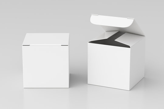 Blank white cube gift box with open and closed hinged flap lid on white background. Clipping path around box mock up. 3d illustration
