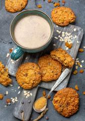 Homemade oatmeal cookies with raisins and chocolate.