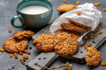 Traditional oatmeal cookies with raisins and chocolate.