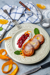 Traditional cottage cheese fritters.