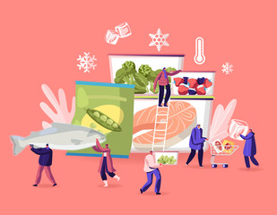 Frozen Food Concept. Tiny Male and Female Characters Buying and Cooking Natural Iced Products Fresh Vegetables, Fruits Meat and Fish. Healthy Eating, Conservation Cartoon Flat Vector Illustration