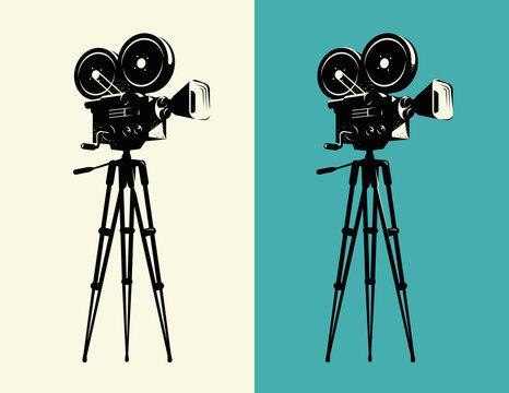 Movie camera on tripod vintage. Projector, cinema retro vector