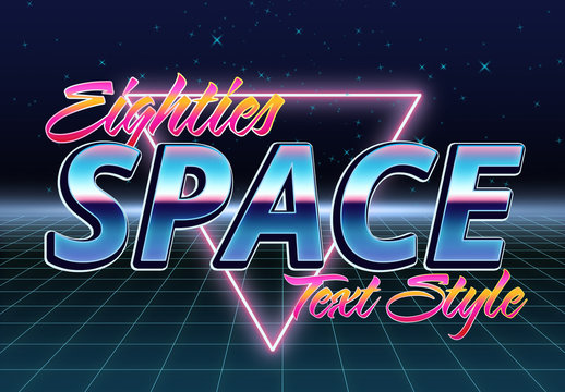 Eighties Space Text Effect Mockup