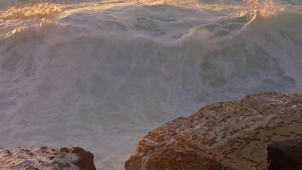 Fototapete - Big splashes of Atlantic ocean at sunset, 4k