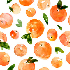 Seamless pattern with fruits peaches, apricots and green leaves