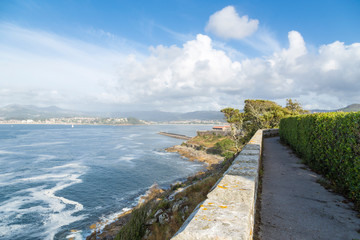 view of the estuary of Vigo, from the castle of Baiona in Galicia, Spain