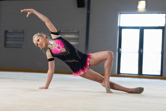 Gymnast training at the gym
