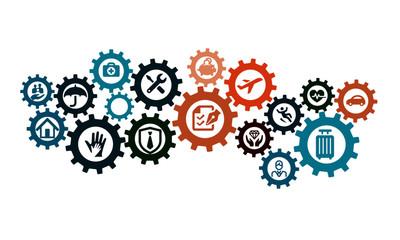 Insurance  cog wheel vector design