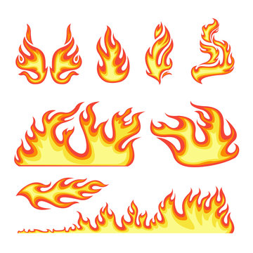 Cartoon Color Different Fire Element Set. Vector