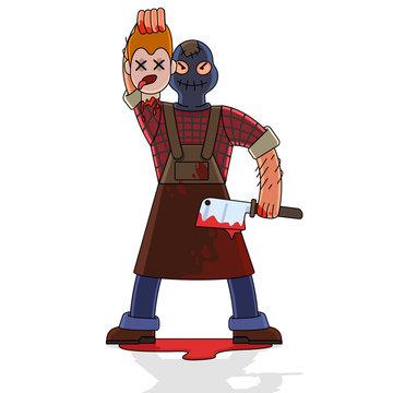 Cartoon Color Character Person Maniac Killer Concept. Vector