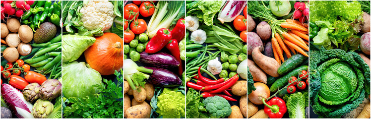 Foto op Plexiglas Keuken Food background with assortment of fresh organic vegetables