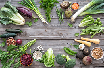 Assortment of fresh organic vegetables  for healthy eating and diet