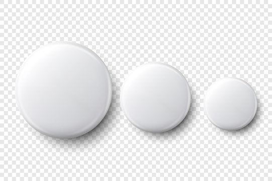 Vector 3d Realistic White Metal, Plastic Blank Button Badge Set Different Sizes Closeup Isolated on Transparent Background. Top View. Template for Branding Identity, Graphic Presentations. Mock-up