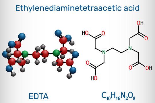 Ethylenediaminetetraacetic acid, edetic acid, EDTA molecule. It is a lead chelator and anti-coagulant. Structural chemical formula and molecule model