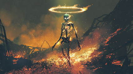 Zelfklevend Fotobehang Grandfailure horror character of demon skeleton with fire flames in hellfire, digital art style, illustration painting