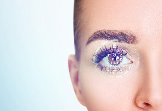 Woman eye and eyechart in scanning circle closeup.