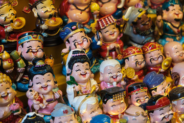 Happy smiling,  asian toy figures, Chinese miniature puppets