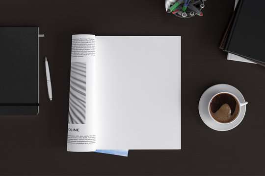 Blank magazine page. Workspace with magazine mock up on the dark wooden desk with cup of coffee. Directly above view. 3d illustration