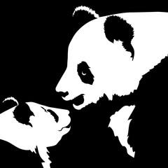 Silhouettes of panda bear heads